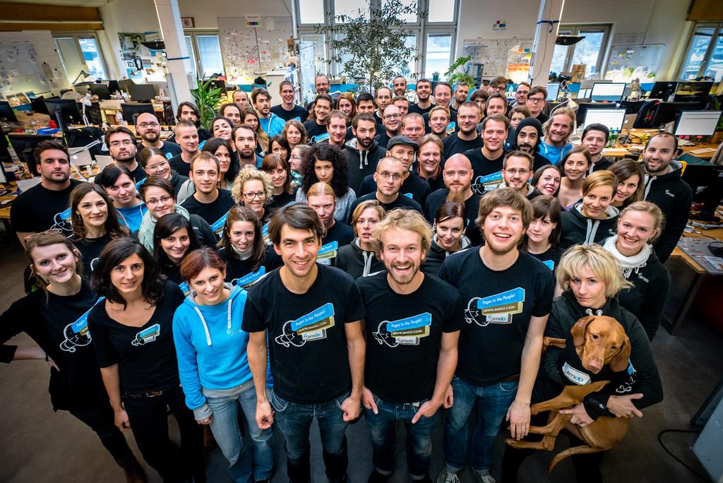 Das Team von Jimdo ist über die Jahre gewachsen. 180 Mitarbeiter sind es mittlerweile weltweit. (Foto: Jimdo)
